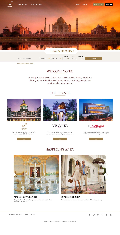 Taj Hotel Group homepage