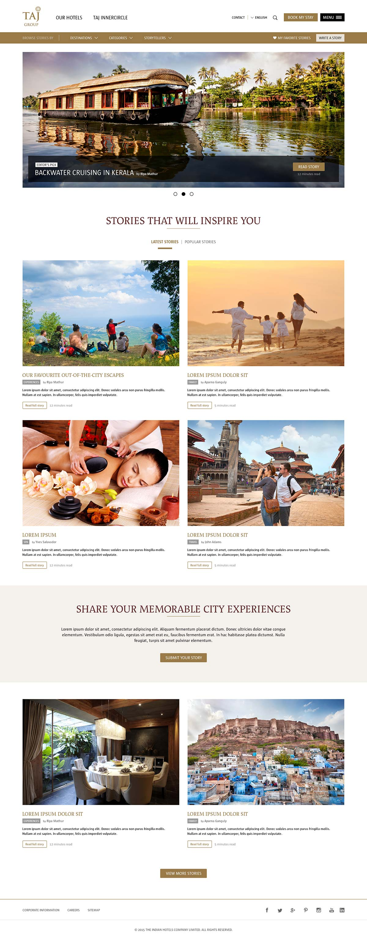 Travel inspirations web page