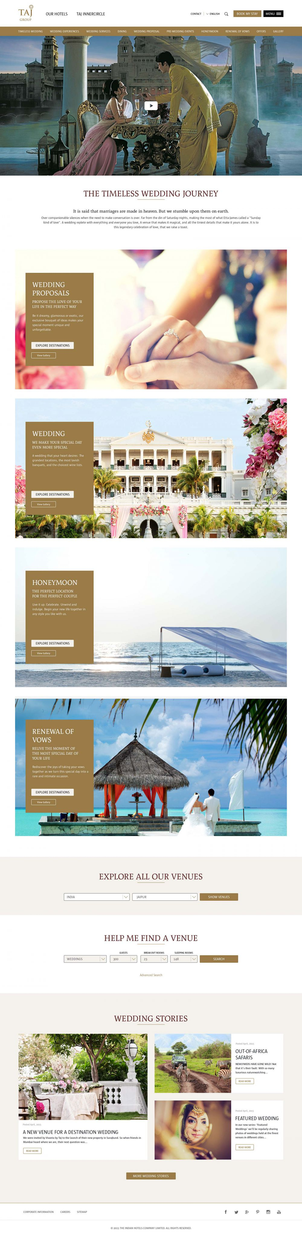 Weddings at Taj web page