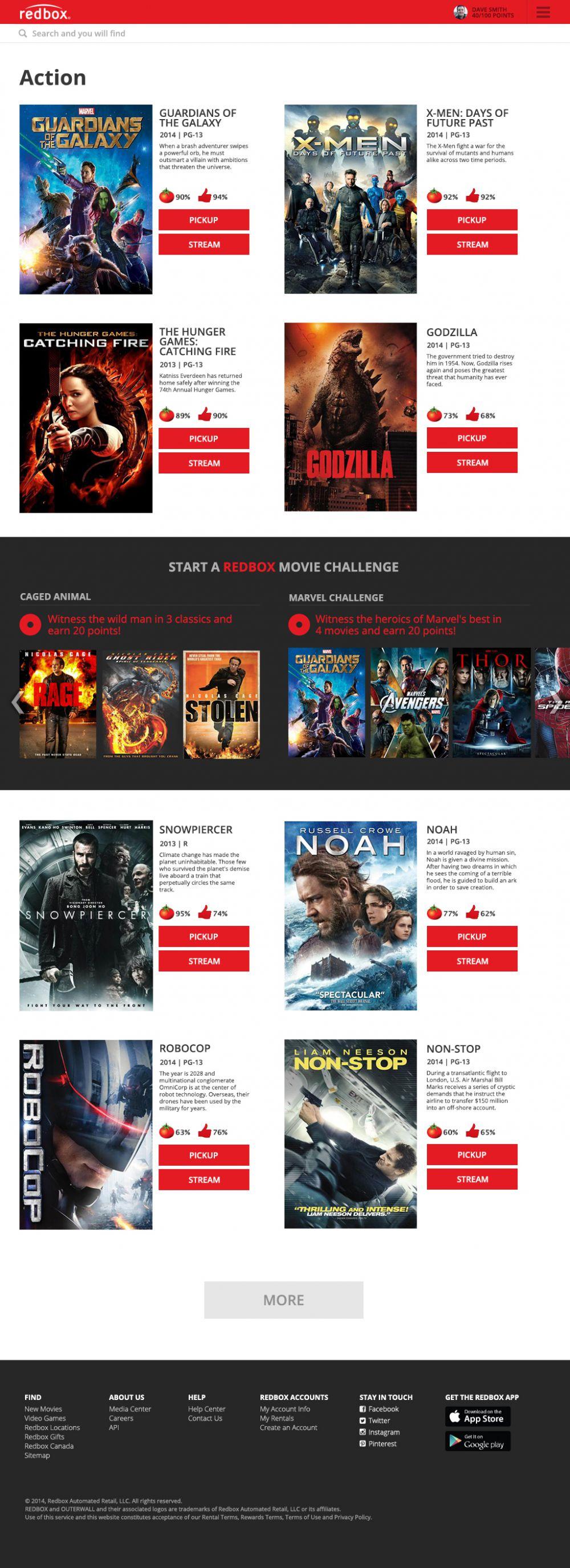 Redbox.com concept - gallery page