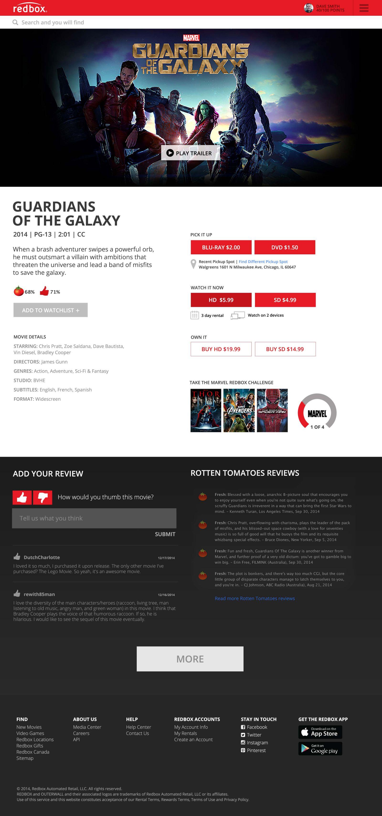 Movie detail page