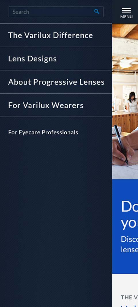 Essilor Varilux mobile menu