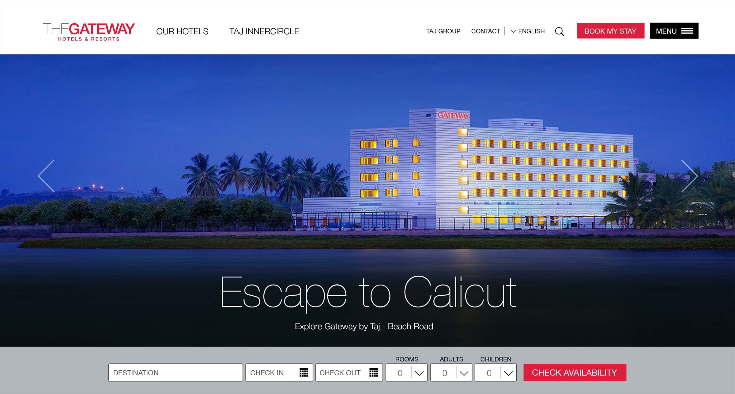 Gateway Hotels and Resorts website