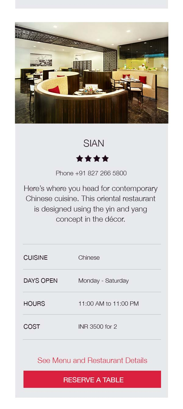 Mobile restaurant page