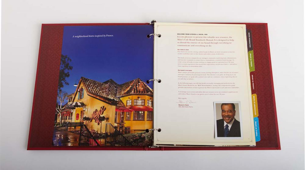 Opening Spread of Mimi's Cafe Brand Standards Manual