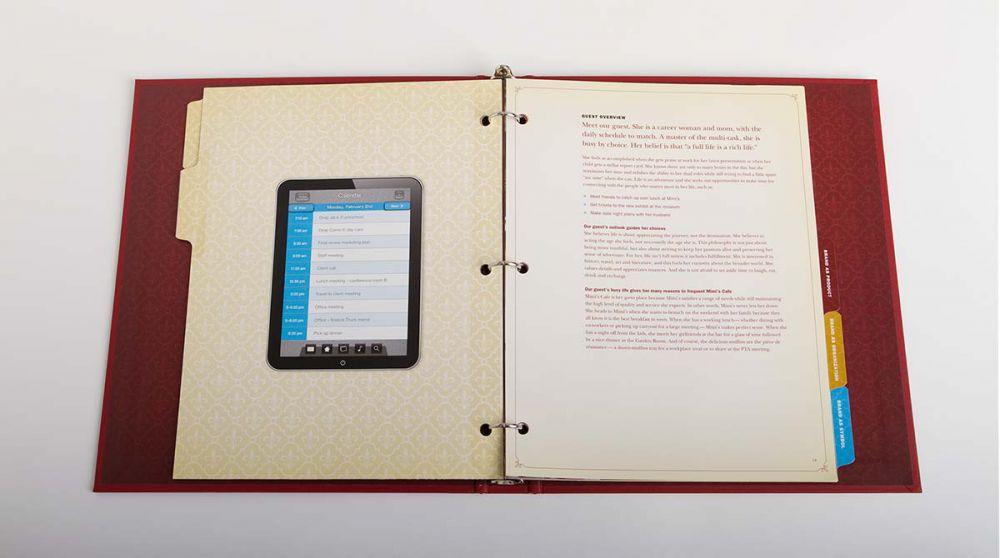 Inside spread of Mimi's Cafe Brand Standards Manual