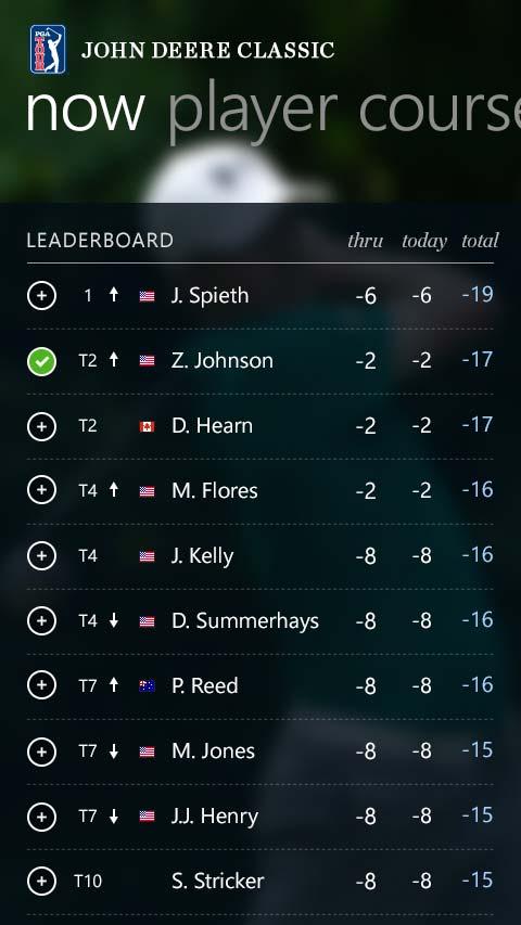 PGA Tour Windows 8 Mobile App Leaderboard Screen