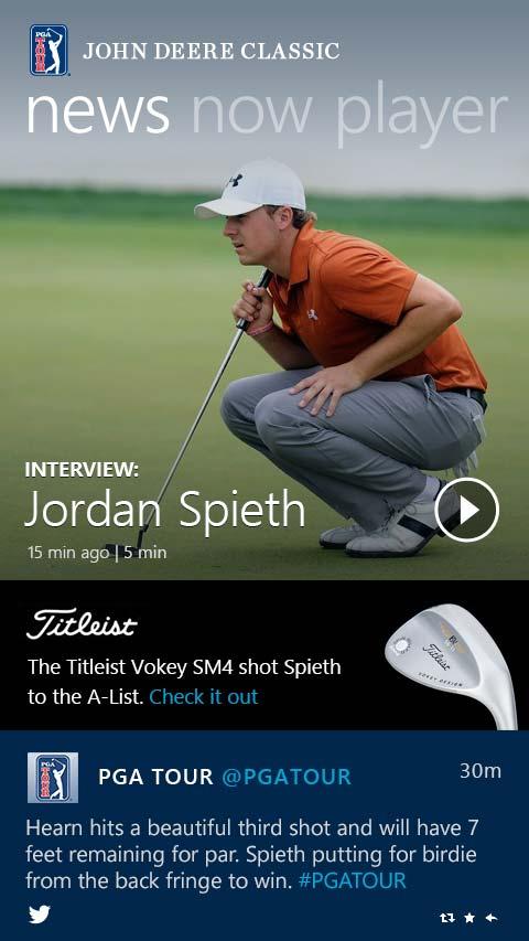 PGA Tour Windows 8 Mobile App News Screen