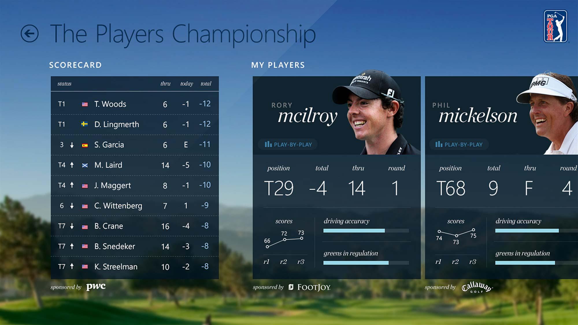 PGA Tour Windows 8 App Tablet Schedule Screen
