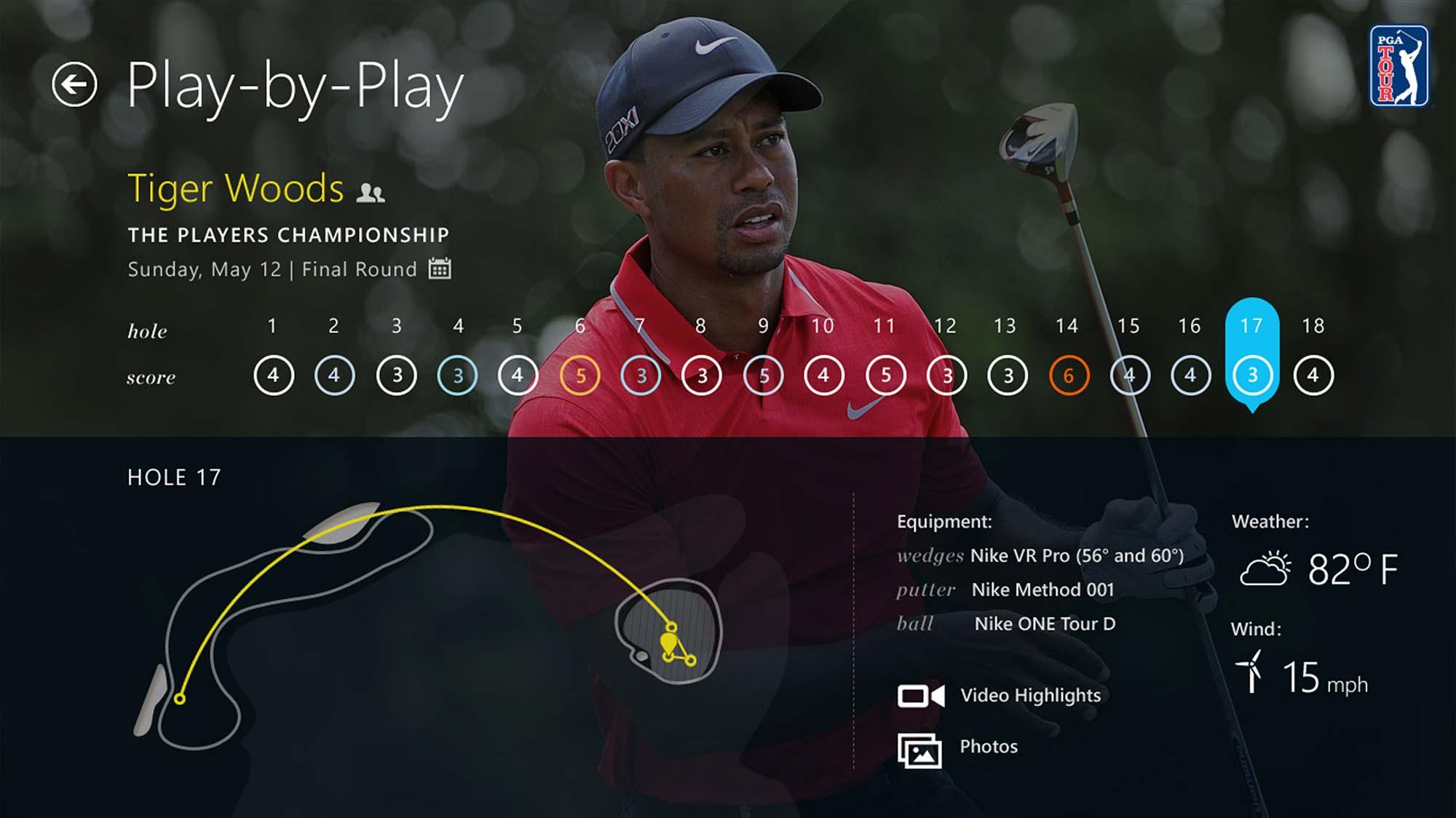 PGA Tour Windows 8 App Tablet Play-by-play Screen