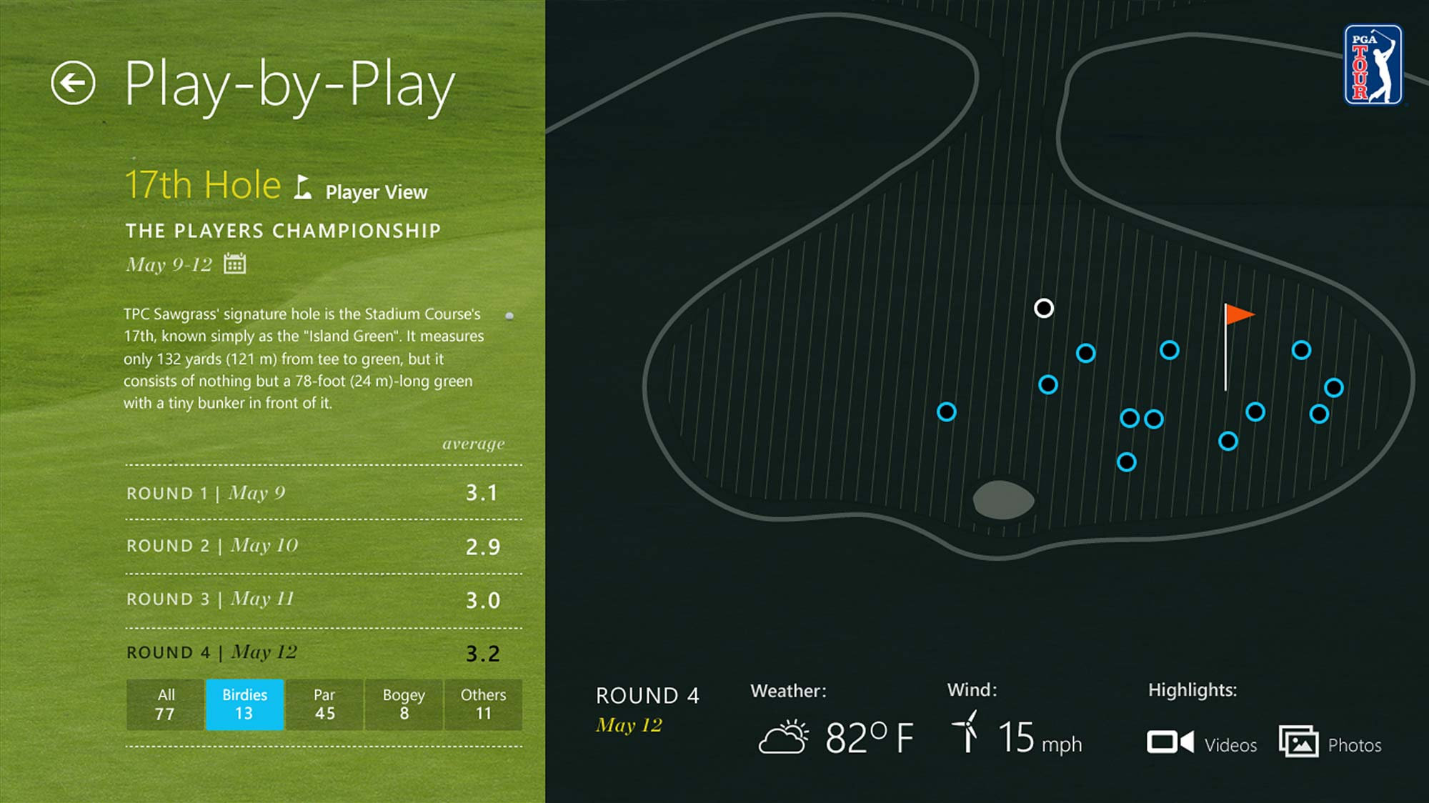 PGA Tour Windows 8 App Tablet Course Map Screen