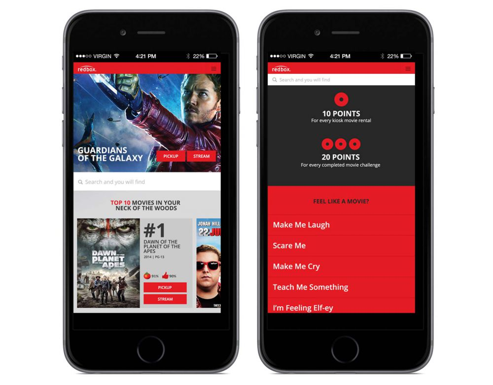 Redbox web site mobile screens