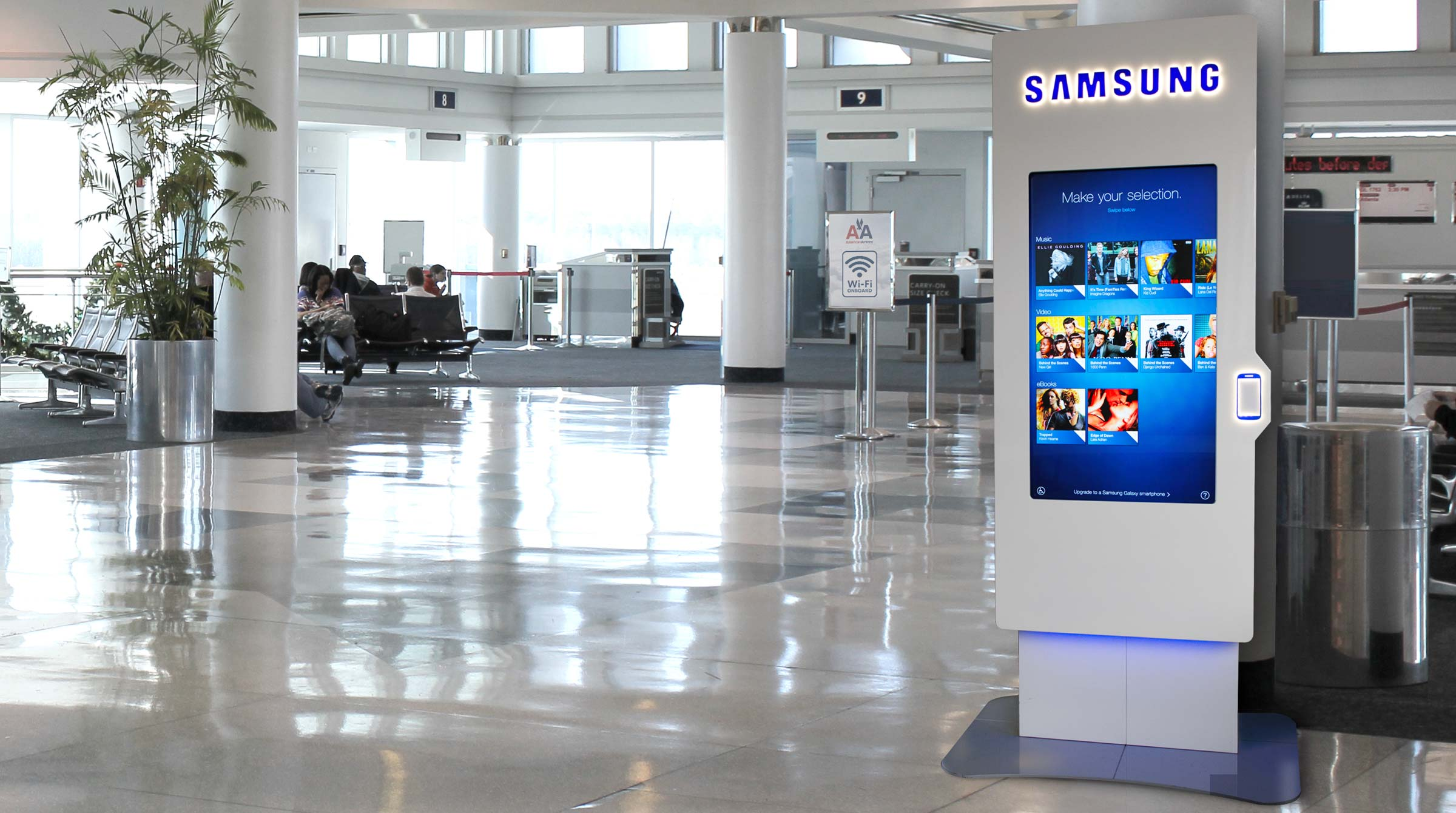 Samsung NFC Kiosk in airport concourse