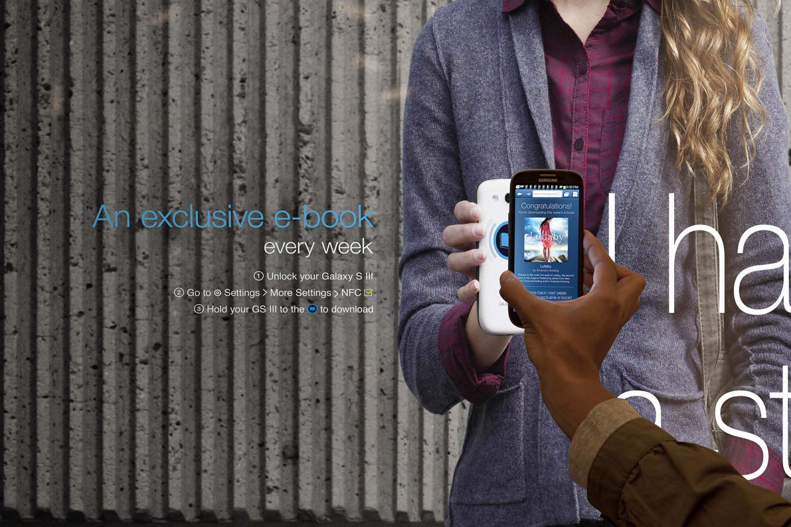 Close up of phone downloading content from a Samsung NFC poster