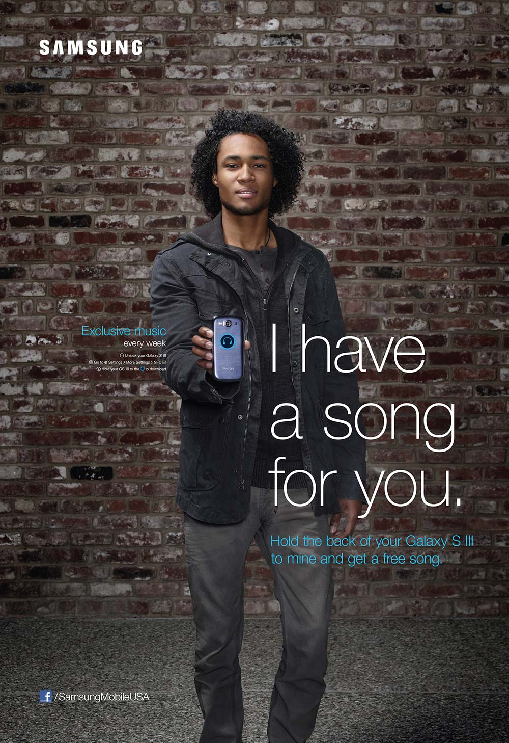 Man holding phone to viewer in Samsung NFC powered poster