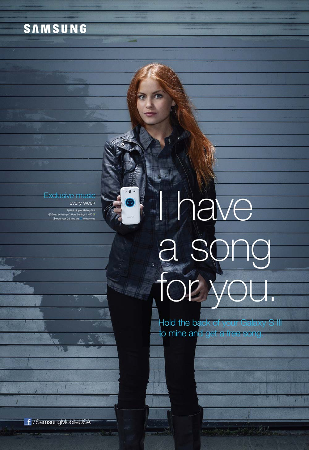 Red haired young woman holding phone in Samsung NFC powered poster