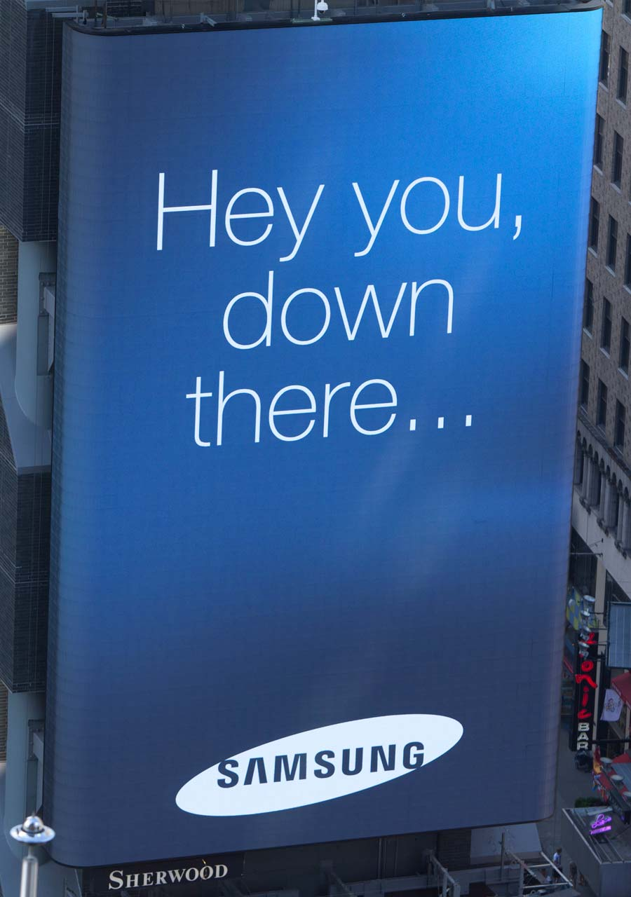 Samsung Times Square billboard call-out message