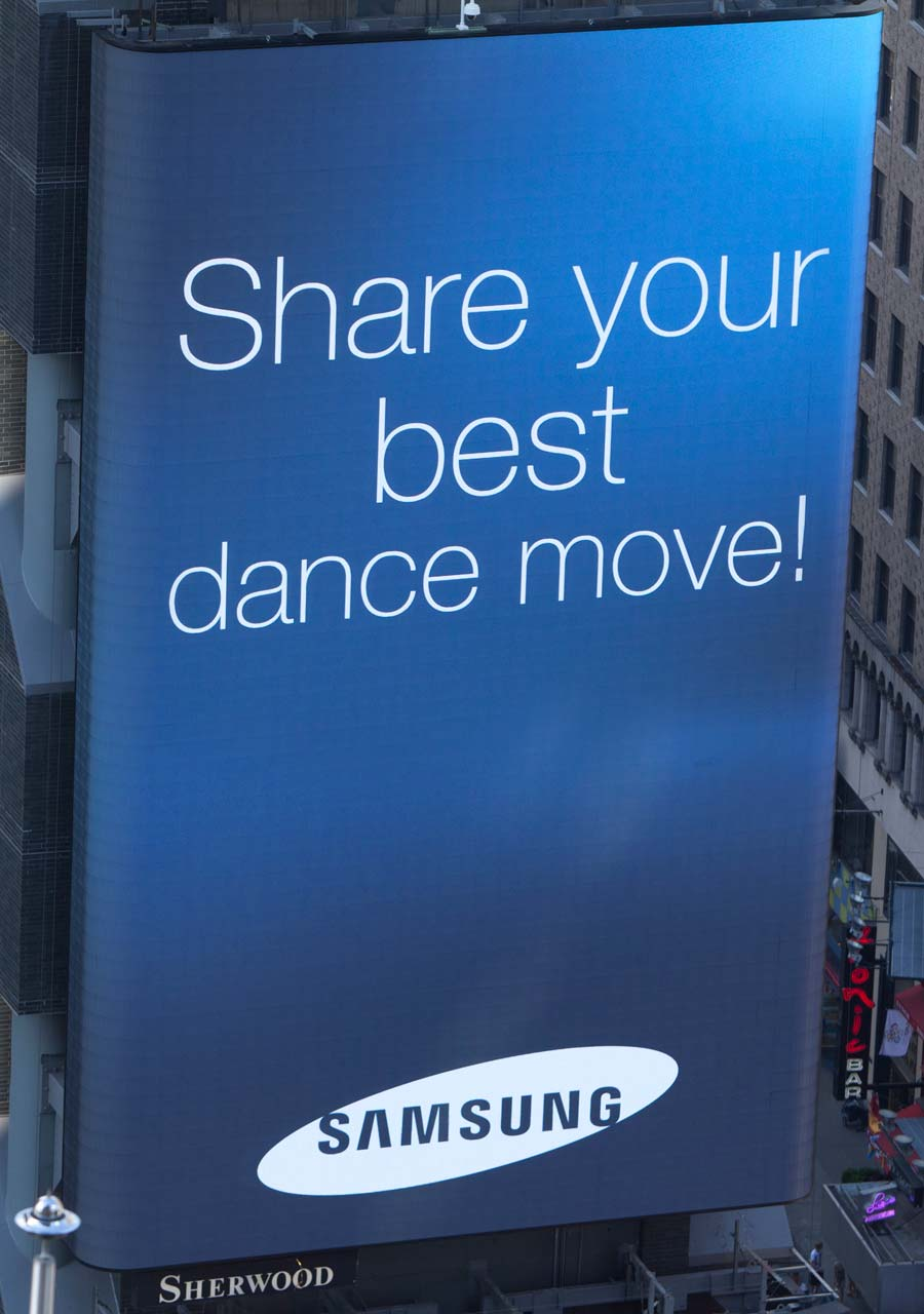Samsung Times Square billboard challenge message