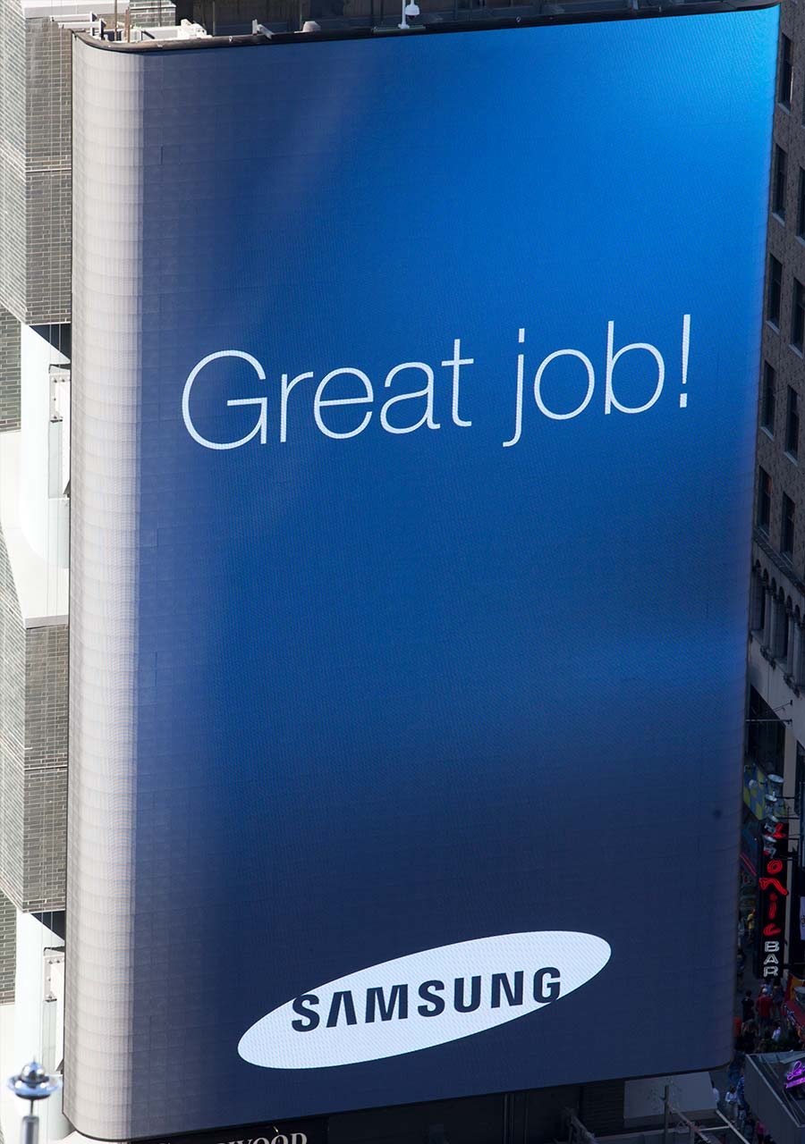 Great job message on Samsung Billboard