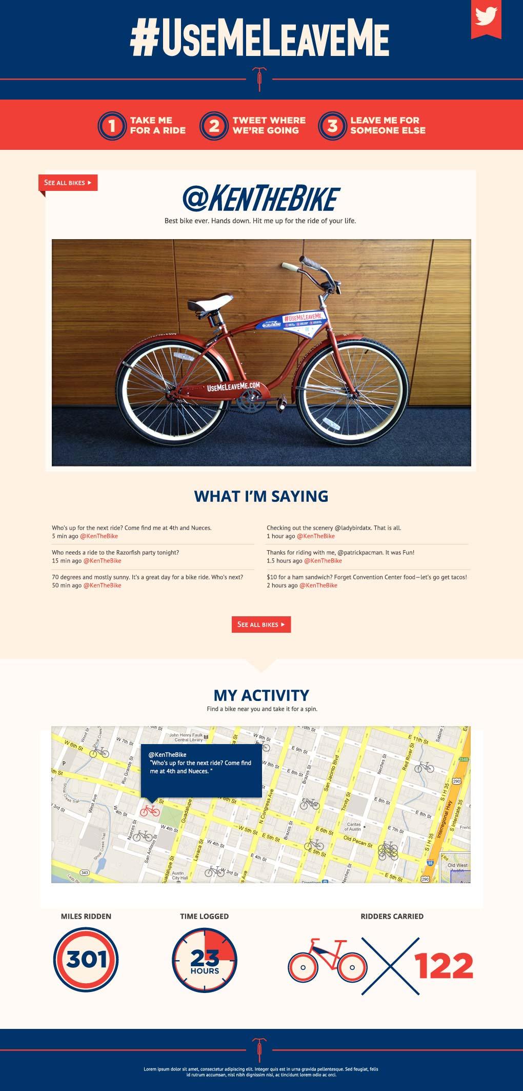 Razorfish Tweeting Bikes website bike page
