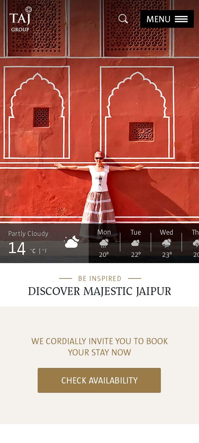 Mobile Taj Hotel Group homepage
