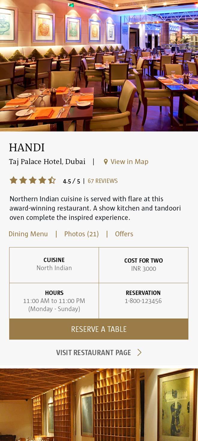 Taj Hotel Group restaurant mobile page