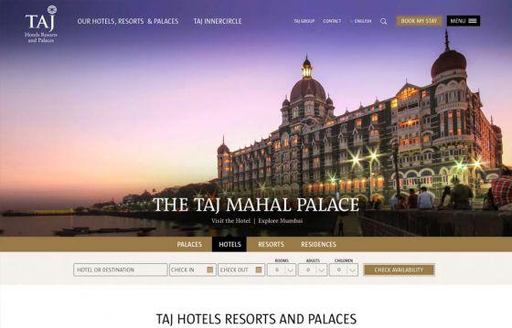 Taj Hotels Resorts and Palaces website
