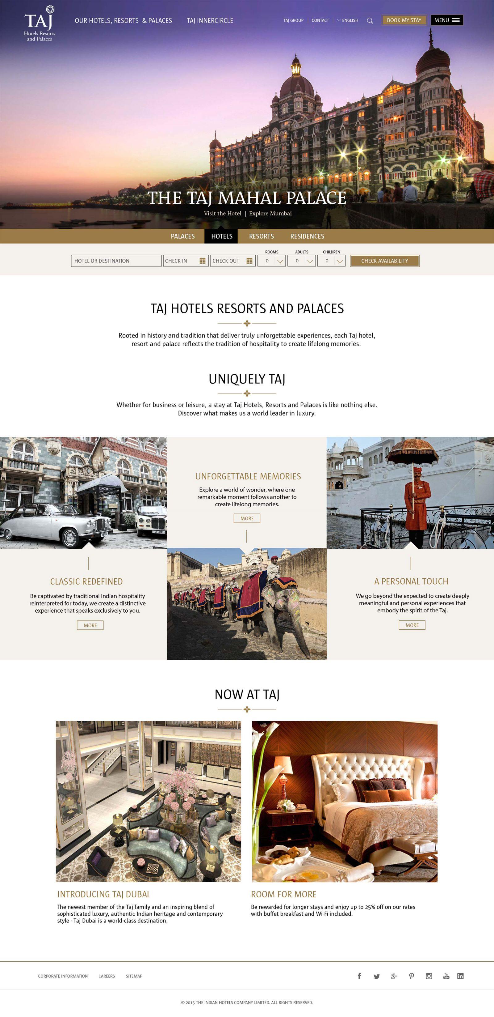 Taj Hotels Resorts and Palaces homepage