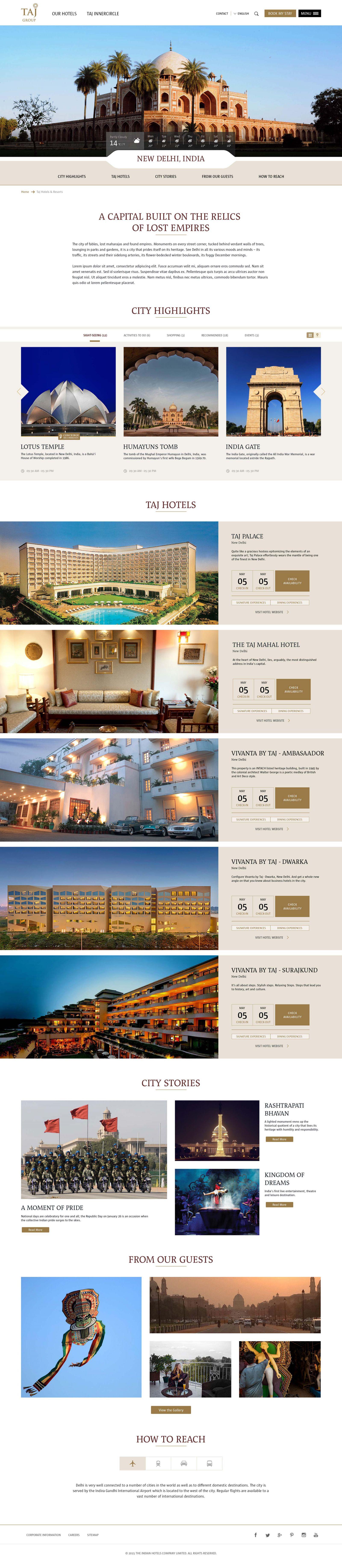 Taj destination page