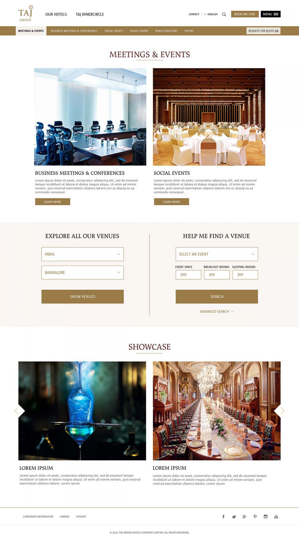 Meetings and events page