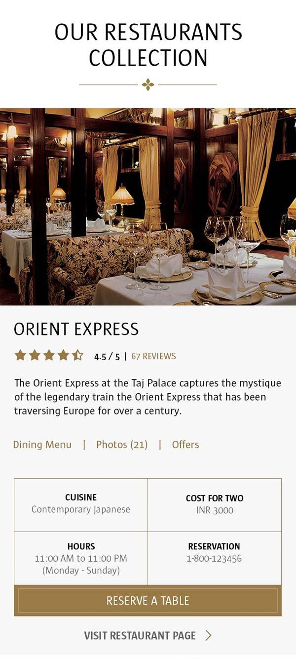 Mobile restaurants list page