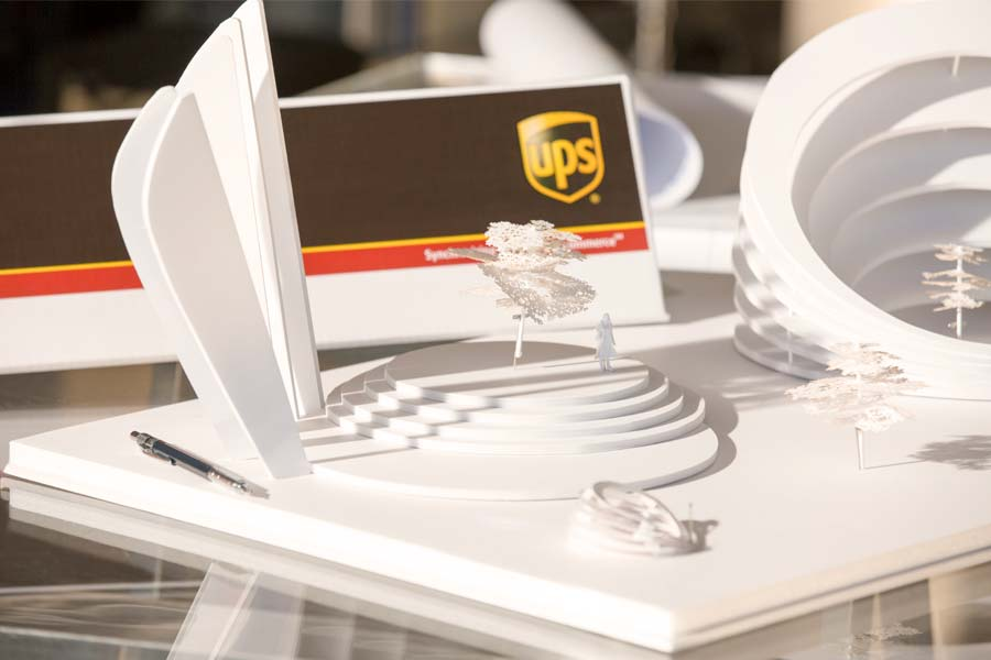 architectural plans in UPS shipping box