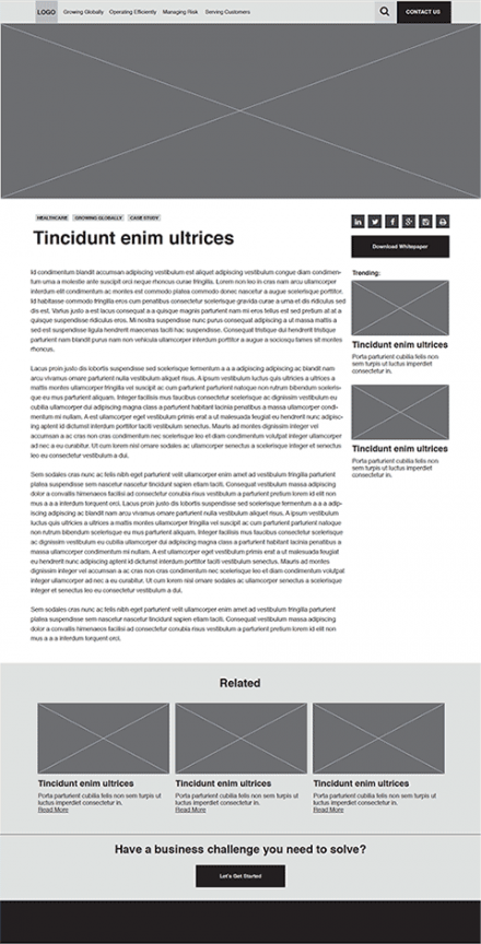 article page wireframe