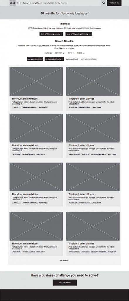 search results wireframe