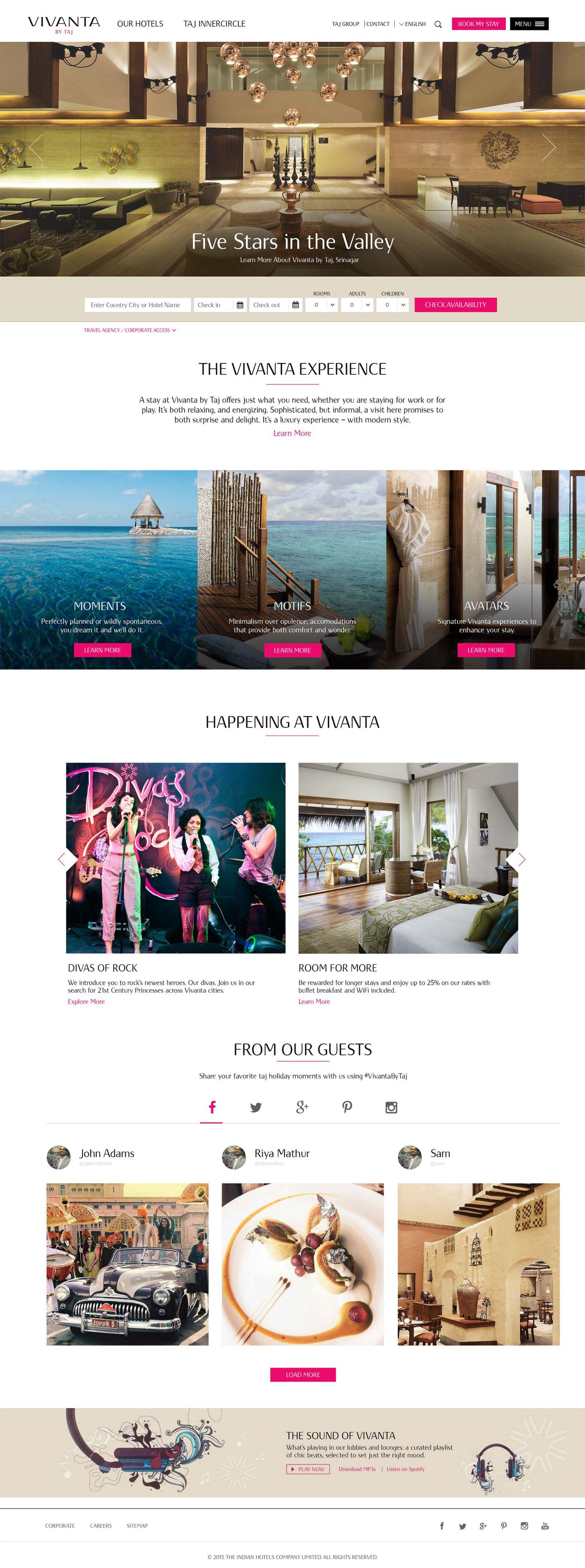 Vivanta Hotels homepage