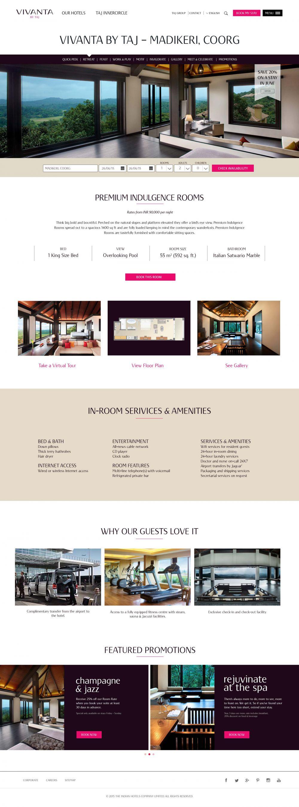 Vivanta Madikeri, Coorg Hotel Room Page