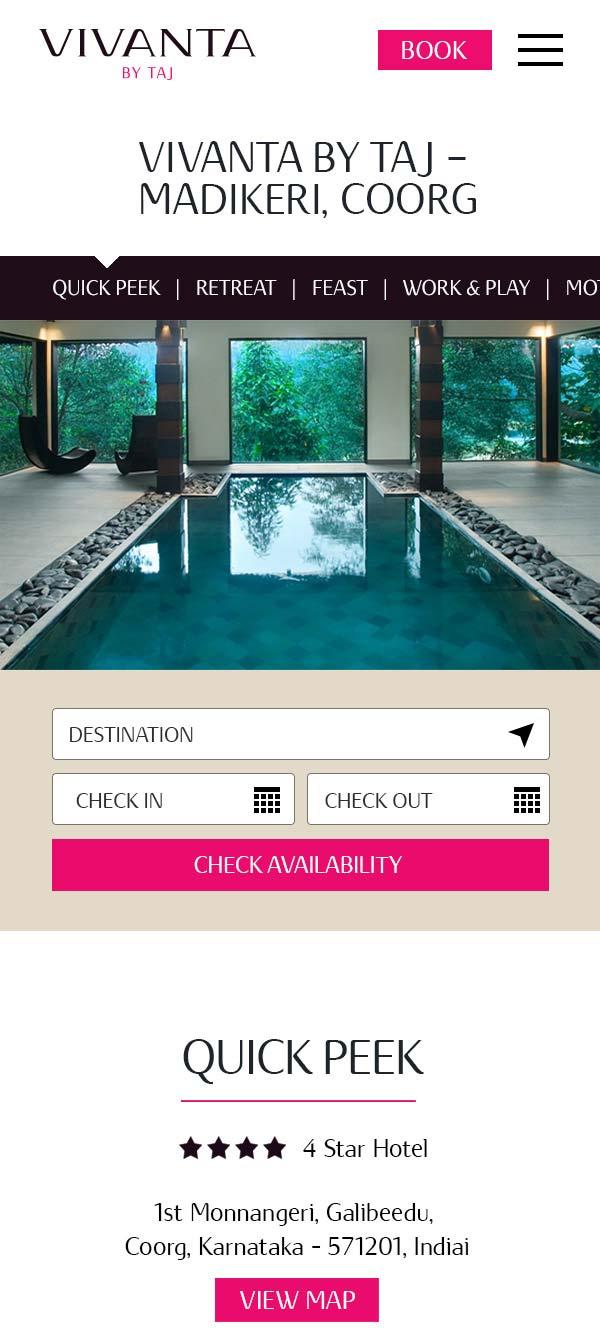 Vivanta mobile hotel page