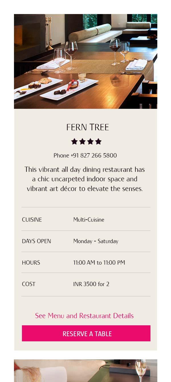 Vivanta mobile restaurant overview card