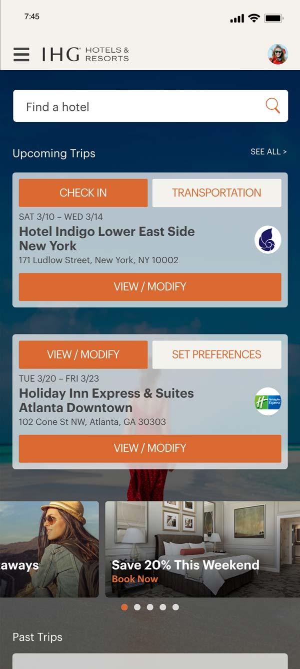 IHG mobile app registered customer upcoming trips screen