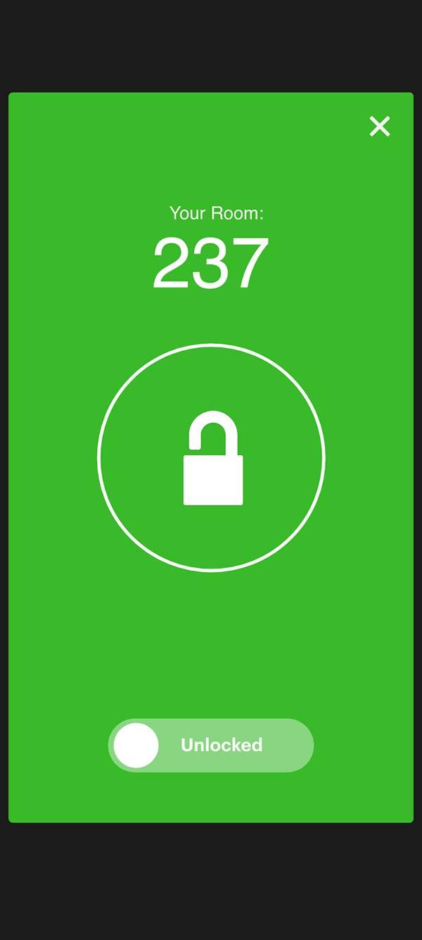 IHG mobile key, unlocked