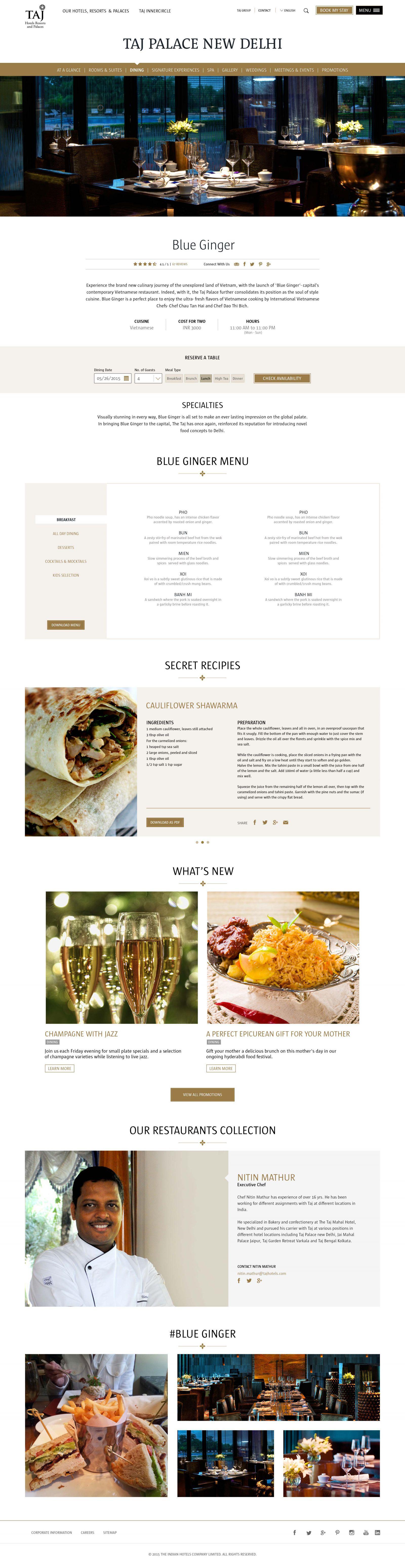 Restaurant detail page
