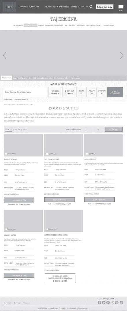Taj website wireframe
