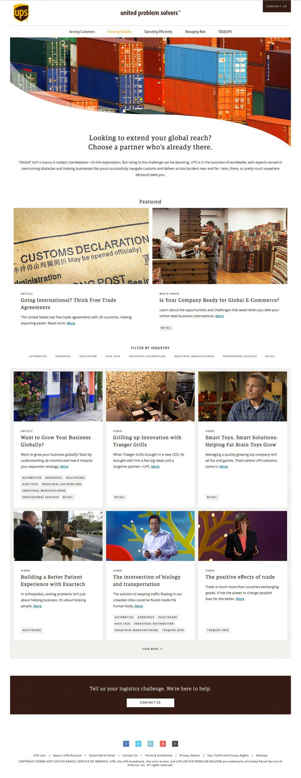 UPS Solvers Growing Globally landing page